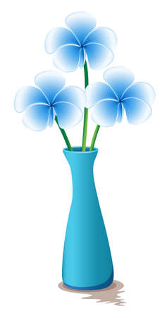 Illustration of the blue flowers in a blue vase isolated on white