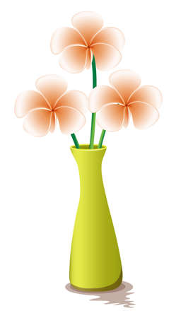 beautification: Illustration of the flowers in a yellow vase isolated on white