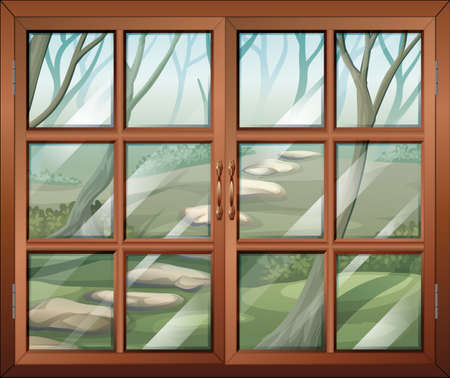 window view: Illustration of a closed window with a view of the forest Illustration