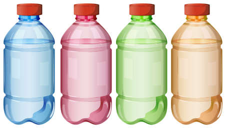 Illustration of the bottles of safe drinking water on a white background