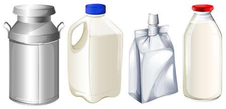 Illustratie van de verschillende melkbussen op een witte achtergrond Stock Illustratie