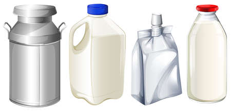 Illustration of the different milk containers on a white background Vector