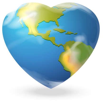 globe terrestre dessin: Illustration d'un globe en forme de coeur sur un fond blanc