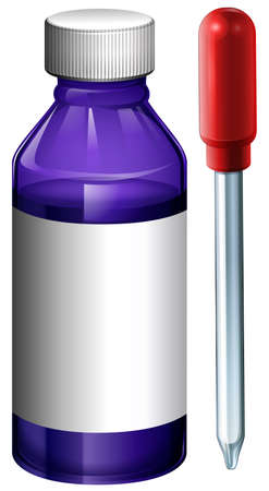 prescribed: Illustration of a lavender bottle with medical dropper on a white background