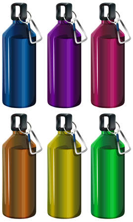 hot water bottle: Illustration of the colorful bottles on a white background Illustration