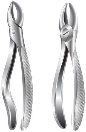removing: Illustration of the stainless dental pliers on a white background Illustration