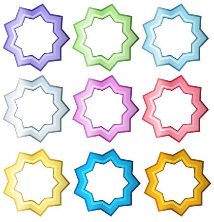 beautify: Illustration of the colorful set of stars on a white background