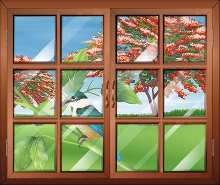 Illustration of a closed window with a view of the bird outside Vector