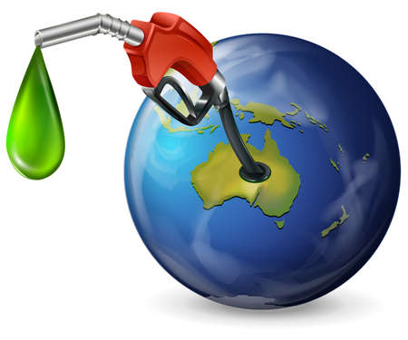 Illustration of a globe with a petrol pump on a white background Vector