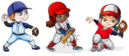 Illustration of the baseball players on a white background