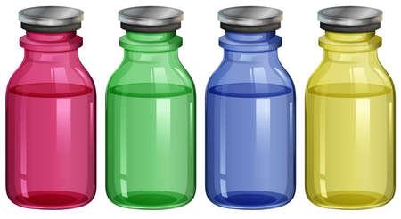 jarra de cerveza: Ilustración de las cuatro botellas claras sobre un fondo blanco