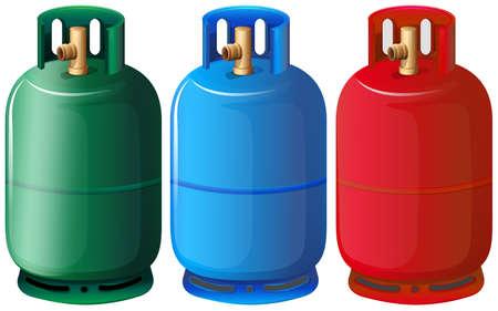 Ilustración de los tanques de gas sobre un fondo blanco