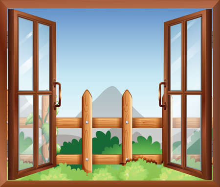 opened eye: Illustration of a window with a view of the backyard