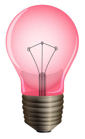 lumens: Illustration of a pink light bulb on a white background
