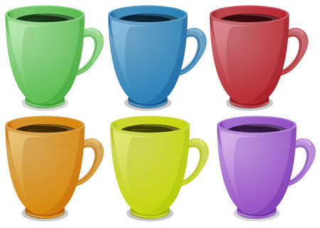 melaware: Illustration of the colorful mugs with coffee on a white background
