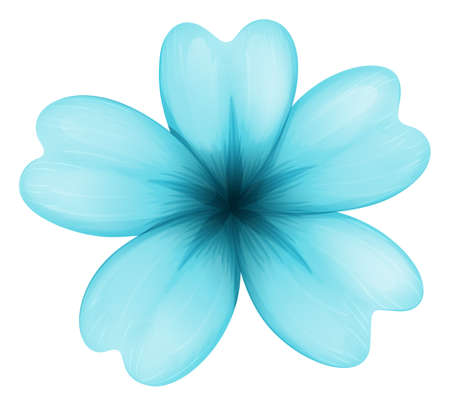 plantae: Illustration of a blue five-petal flower on a white background