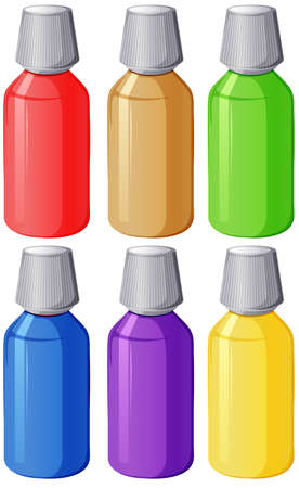 prescribed: Illustration of the colourful medical bottles on a white background