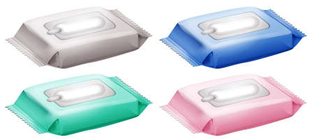 Illustration of the four packs of baby wipes on a white background