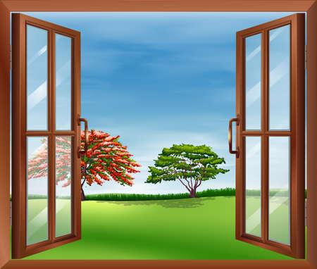 ventana abierta: Ilustración de una ventana de madera abierta Vectores