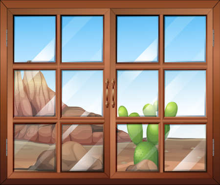 opened eye: Illustration of a window with a view of the cactus outside