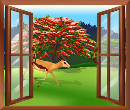sides: Illustration of a window with a view of the deer outside