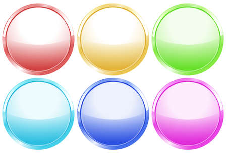 aqua flowers: Illustration of the colorful round web buttons on a white background Illustration