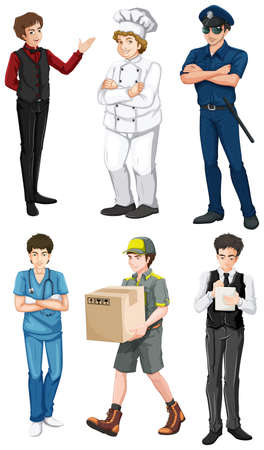 Illustration of the different male professions on a white background Vector
