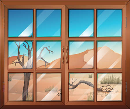 opened eye: Illustration of a window with a view of the desert