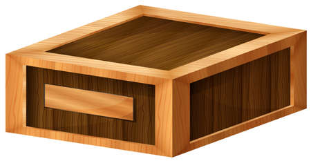 sides: Illustration of a wooden box on a white background