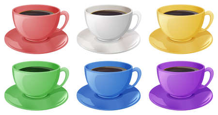 Illustration of the cups with coffee on a white background Vector