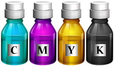 Illustration of the bottles of colorful inks on a white background Vector