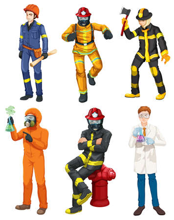 Illustration of the men with different professions on a white background Vector