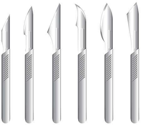 hardened: Illustration of the stainless scalpels on a white background Illustration