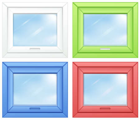 opened eye: Illustration of the door windows on a white background Illustration