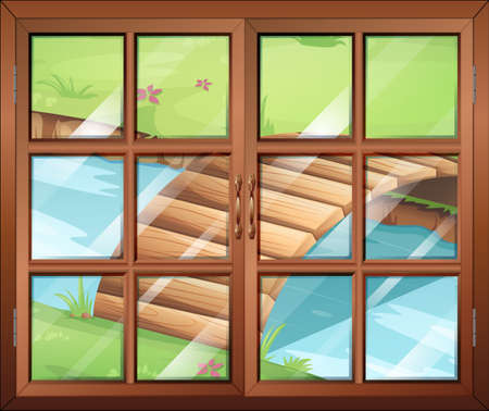 window view: Illustration of a closed window with a view of the river with a bridge