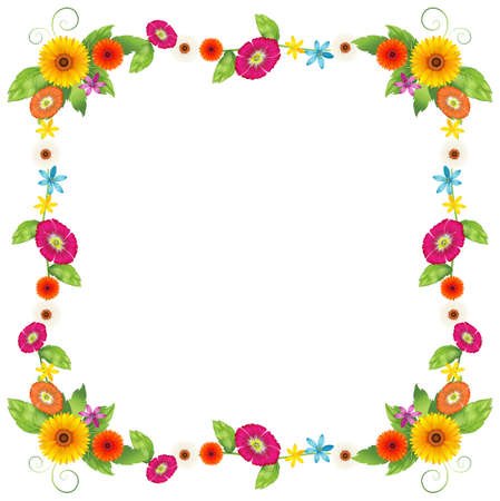 beautification: Illustration of a flowery border design on a white background Illustration