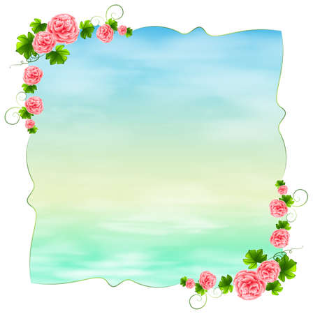 enhancement: Illustration of an empty blue template with carnation pink flowers on a white background