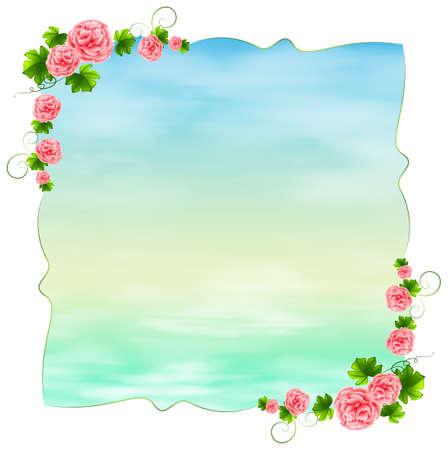 margen: Ilustración de una plantilla vacía de color azul con clavel flores de color rosa sobre un fondo blanco