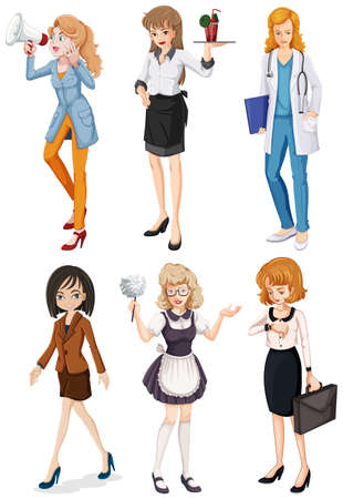 Illustration of the women with different professions on a white background Vector