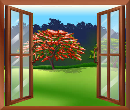 office environment: Illustration of an open window with a view of the big tree