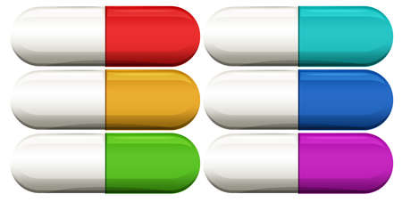 gelatina: Ilustraci�n de las c�psulas m�dicas en un fondo blanco