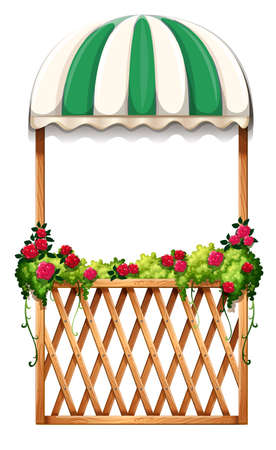 Illustration of a porch with umbrella-styled roof on a white background Illustration