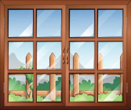 opened eye: Illustration of a closed window with a view of the fence at the yard