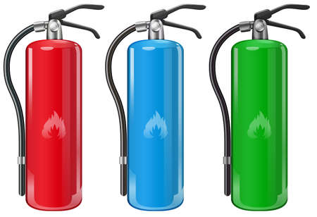 Illustration of the fire extinguishers on a white background Vector