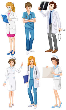 Illustration of the doctors and nurses on a white background Vector
