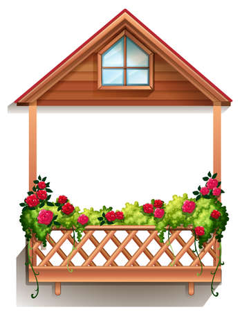 sufficient: Illustration of a wooden porch with plants on a white background