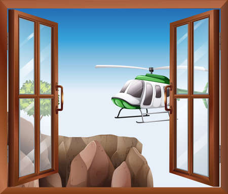 window view: Illustration of an open window with a view of the chopper