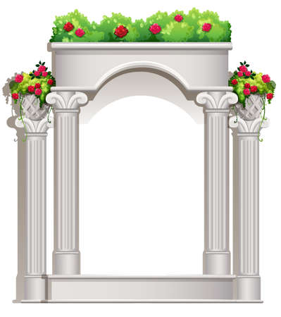 sufficient: Illustration of a porch with flowering plants on a white background