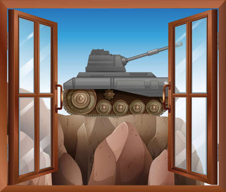 opened eye: Illustration of an open window with a view of the armoured tank Illustration