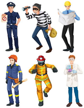 enforcer: Illustration of the men with different works on a white background